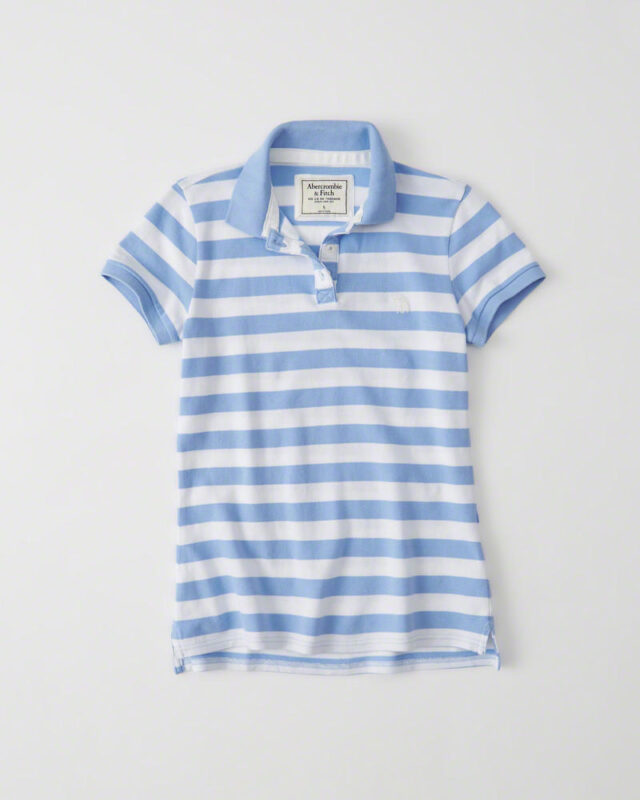 Blusa Abercrombie & Fitch Classic Polo Azul Stripe