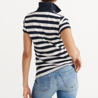 Blusa Abercrombie & Fitch Classic Polo Navy Stripe