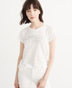 Blusa Abercrombie & Fitch Embroidered Logo Tee Branca