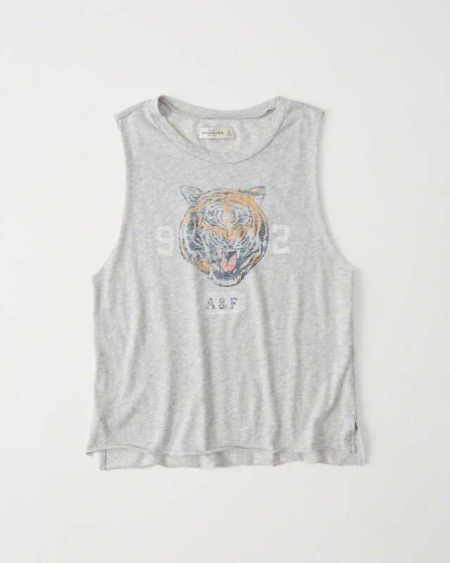 Blusa Abercrombie & Fitch Graphic Muscle Tank Light Grey