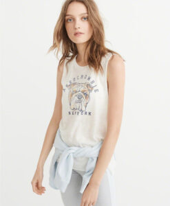 Blusa Abercrombie & Fitch Graphic Muscle Tank Off White