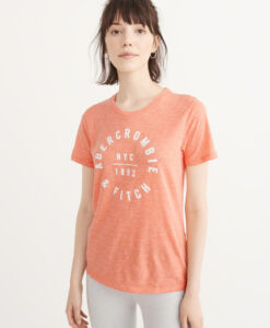 Blusa Abercrombie & Fitch Logo Graphic Tee Coral