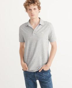 Camisa Polo A&F Big Icon Cinza