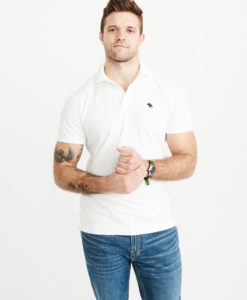 Camisa Polo Abercrombie & Fitch Relaxed Fit Stretch Branca