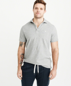 Camisa Polo Relaxed Fit Stretch Cinza