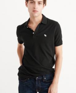 Camiseta A&F Stretch Icon Polo Preta