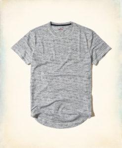 Camiseta Hollister Curved Hem Pocket T-Shirt Grey Textured