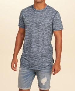 Camiseta Hollister Curved Hem Pocket T-Shirt Navy Textured