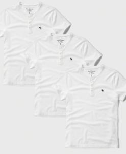 Camiseta A&F Icon Henley Multi Pack Preta