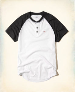 Camiseta Hollister Must-Have Colorblock Henley Branca