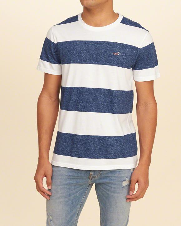1fd24e3a18 Camiseta Hollister Must-Have Crew Navy Stripe - EuEnvio Importados ...