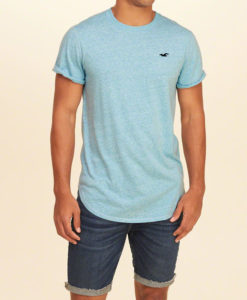 Camiseta Hollister Must-Have Curved Hem T-Shirt Azul