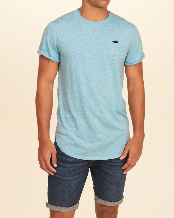 d02a25de51 Camiseta Hollister Must-Have Curved Hem Azul - EuEnvio Importados ...