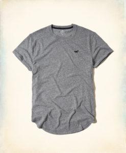 Camiseta Hollister Must-Have Curved Hem T-Shirt Cinza