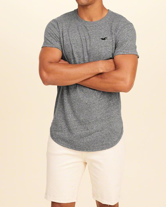72d8f40c4c Camiseta Hollister Must-Have Curved Hem Cinza - EuEnvio Importados ...