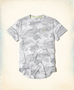 Camiseta Hollister Must-Have Curved Hem T-Shirt Grey Camo