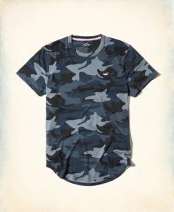 Camiseta Hollister Must-Have Curved Hem T-Shirt Navy Camo