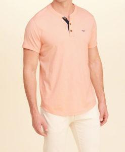 Camiseta Hollister Must-Have Henley Peach Pink