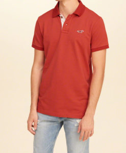 Polo Hollister Stretch Pique Icon Polo Vermelha