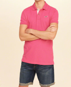 Polo Hollister Stretch Pique Icon Pink