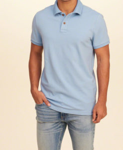 Polo Hollister Stretch Pique Polo Light Blue