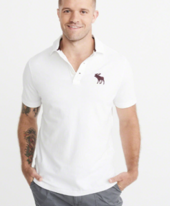 Polo Abercrombie & Fitch Big Icon Stretch White