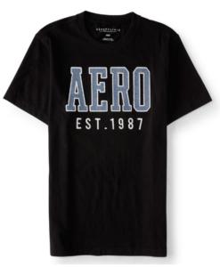 Aeropostale Men's Aero Est 1987 Graphic T Shirt Black