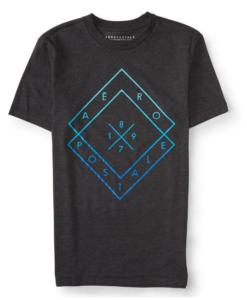 Aeropostale Men's Diamond Logo Graphic T Shirt Black