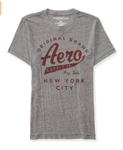 Aeropostale Men's T Shirt Graphic Logo Grey
