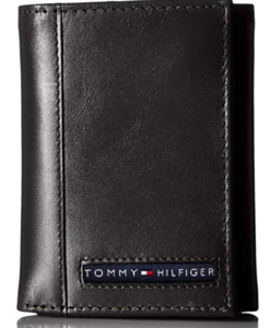 Tommy Hilfiger Men's Leather Cambridge Trifold Wallet black